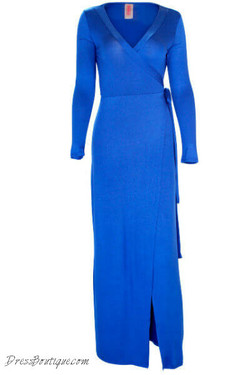 Royal Blue Long Sleeve Wrap Dress