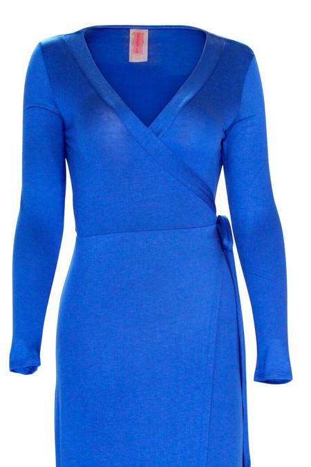Royal Blue Long Sleeve Wrap Dress