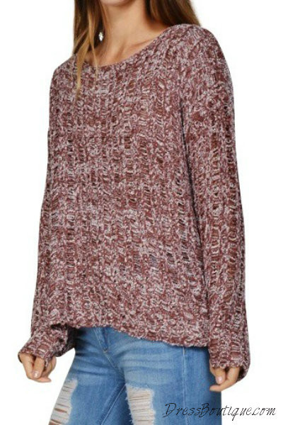 2e7037a82c6b Maroon Loose Knit Sweater