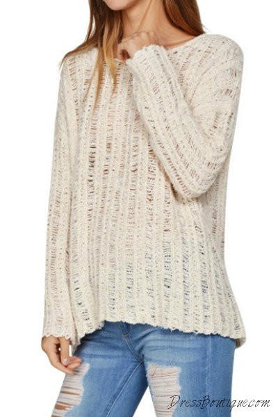 Cream Loose Knit Sweater