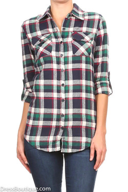 Soft Green Plaid Flannel Shirt