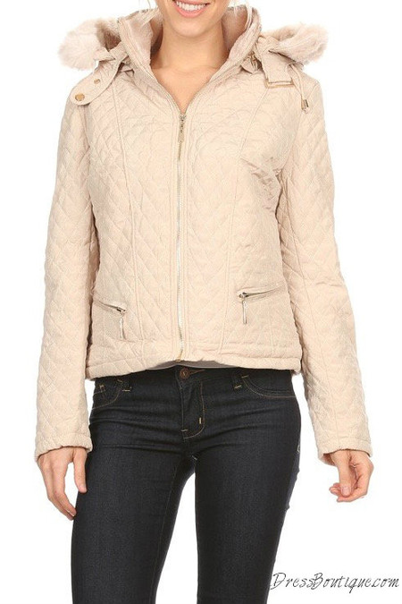 Beige Waist Length Coat with Hood