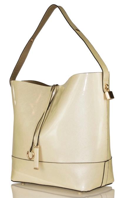 Elegant Ivory Patent Shoulder Bag