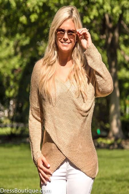 Beige Front Wrap Sweater