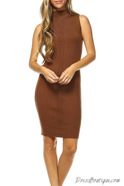 Camel Knitted Dress