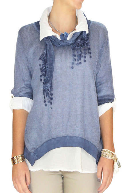 Blue Italian 3-1 Sweater, Blouse Set