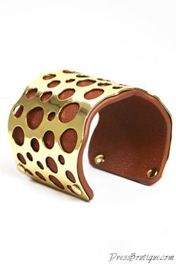 Tan Leather Gold Cuff