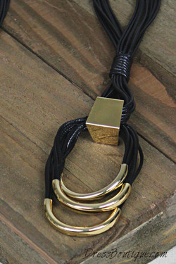 Black and Gold Layered Loop Necklace