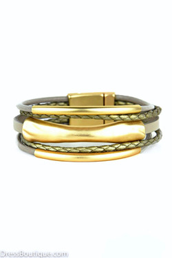 Matte Gold Braided Leather Bracelet