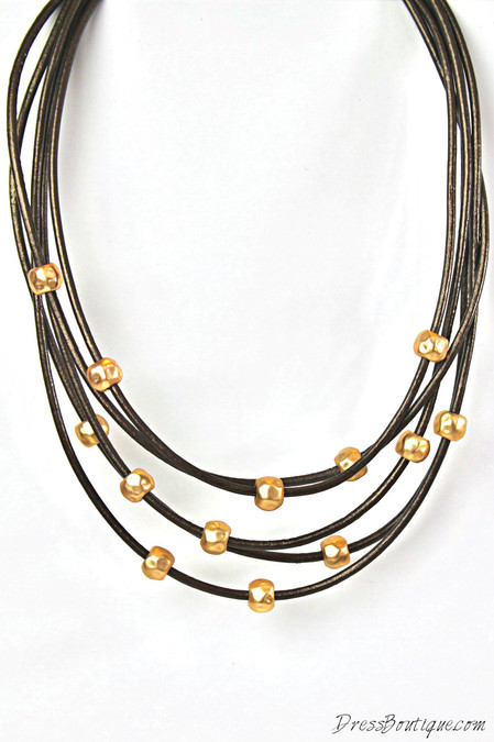 Copper Beaded Leather Necklace