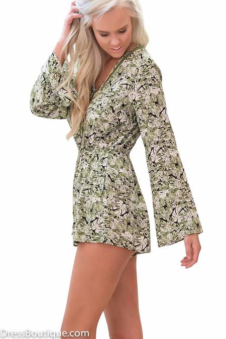 Green Floral Romper