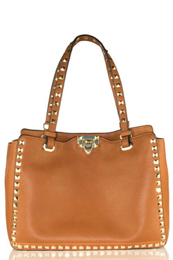 Brown Leather Studded Bag