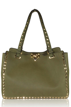 Olive Leather Studded Bag