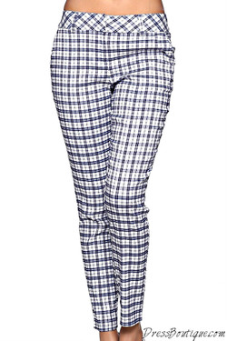 Navy Plaid Stretch Pants