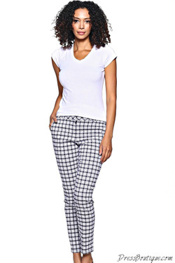 Black Plaid Stretch Pants