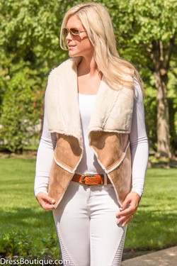 Tan Faux Leather Vest