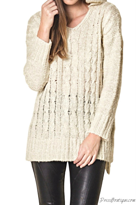 Oatmeal Knit Sweater with Hood