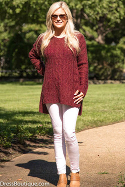 Maroon Hooded Sweater