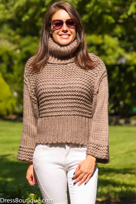 Mocha Chunky Turtle Neck Sweater