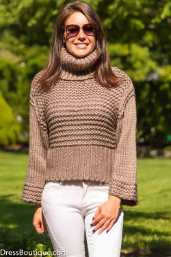 Mocha Chunky Turtle Neck Sweater