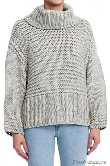 Cozy Grey Cowl Neck Sweater
