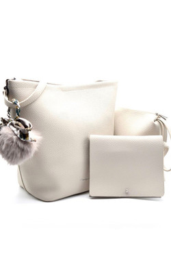 3 In 1 Light Grey Leather Shoulder Bag