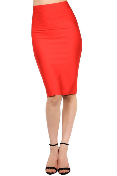 Vibrant Red Bodycon Pencil Skirt