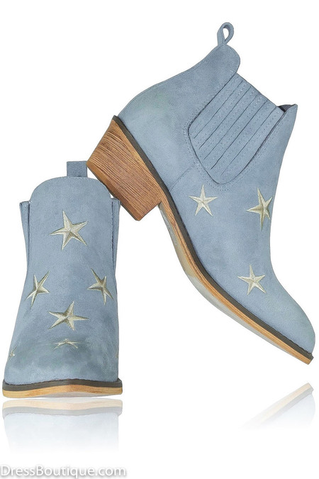 Blue Star Suede Booties