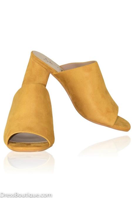 Yellow Suede Slip On Heels