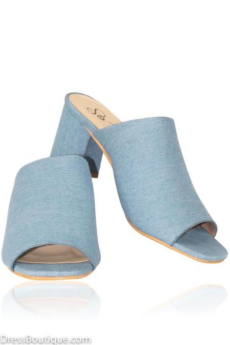 Blue Block Heel Sandals