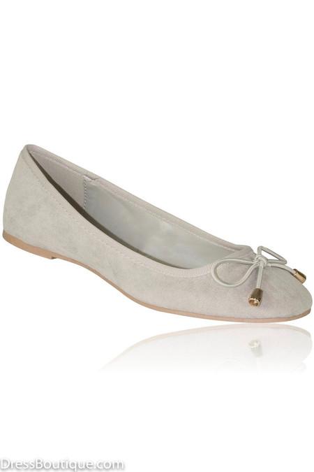 Grey Suede Ballerina Shoes