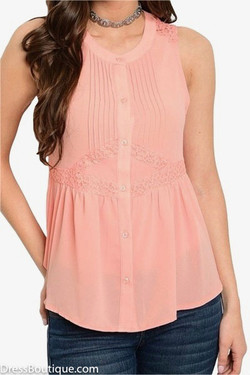 Peach Lace Blouse