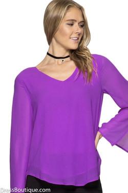 Purple Cowl Back Blouse