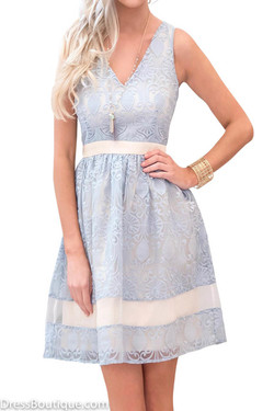 Blue Organza Embroidered Dress