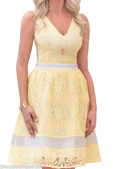 Organza Yellow Lace Dress