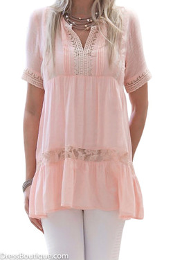 Blush Babydoll Lace Blouse