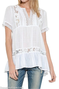 White Lace Babydoll Blouse
