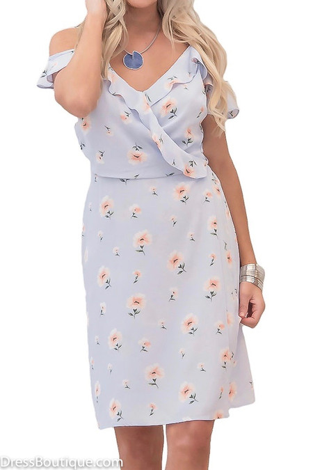Floral Blue Off The Shoulder Wrap Dress