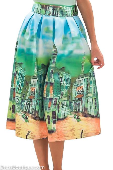 Green Venetian Print Midi Skirt