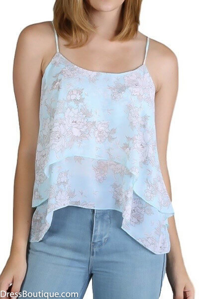 Blue Floral Camisole