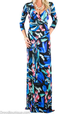 Blue Floral Maxi Wrap Dress