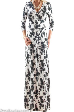 Black and White Floral Maxi Dress