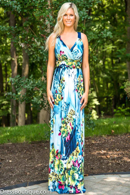 Long Navy Colorful Print Dress