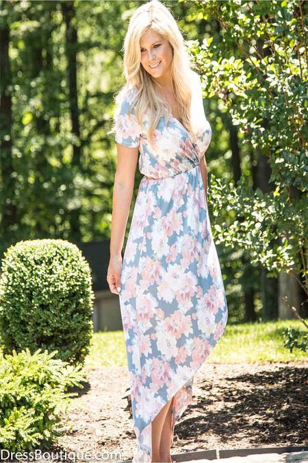 Coral Floral Short Sleeved Dress