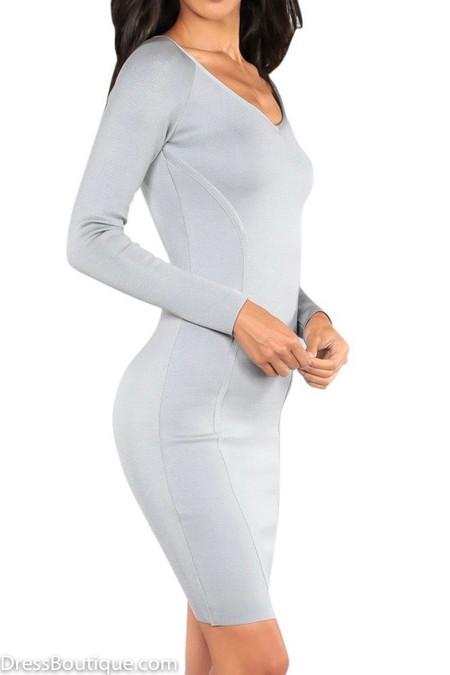 Silver Grey Bodycon Dress