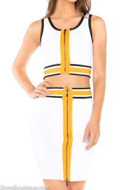 2 Piece Color Block Bodycon Dress