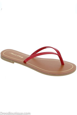 Red Flat Thong Sandals