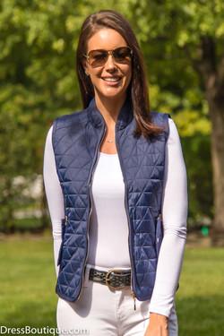 Women's Slim Fit Navy Padded Vest