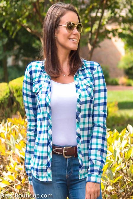 Green & Blue Plaid Shirt