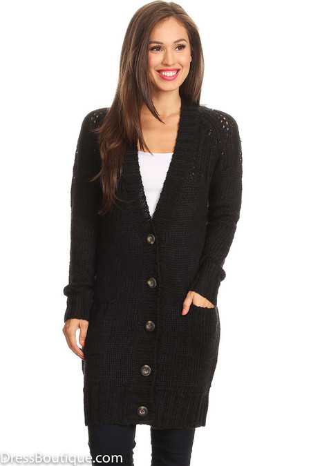 Women's Long Black Knit Cardigan
